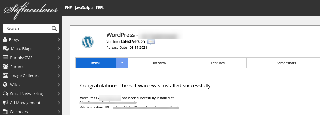 The link to access WordPress from cPanel.
