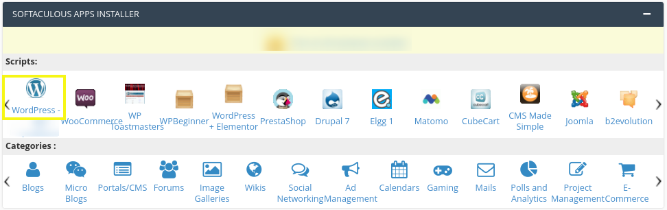 The Softaculous Installer with WordPress app in cPanel.