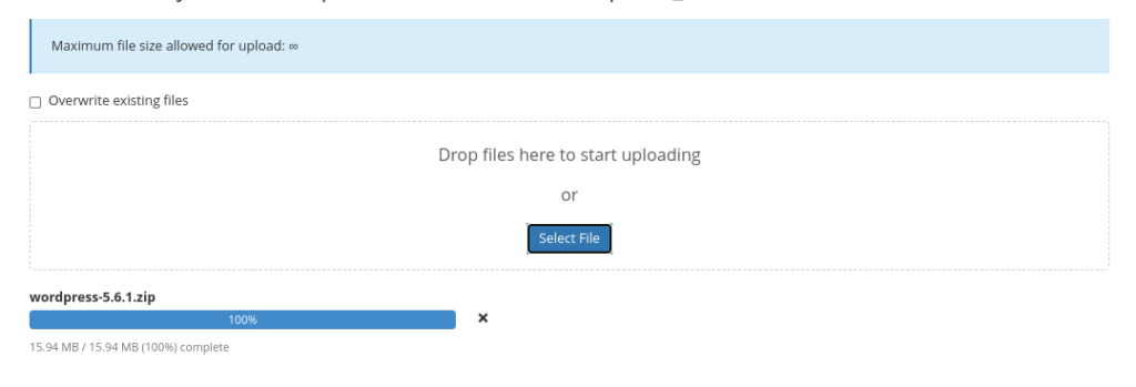 Uploading the WordPress ZIP file to cPanel.