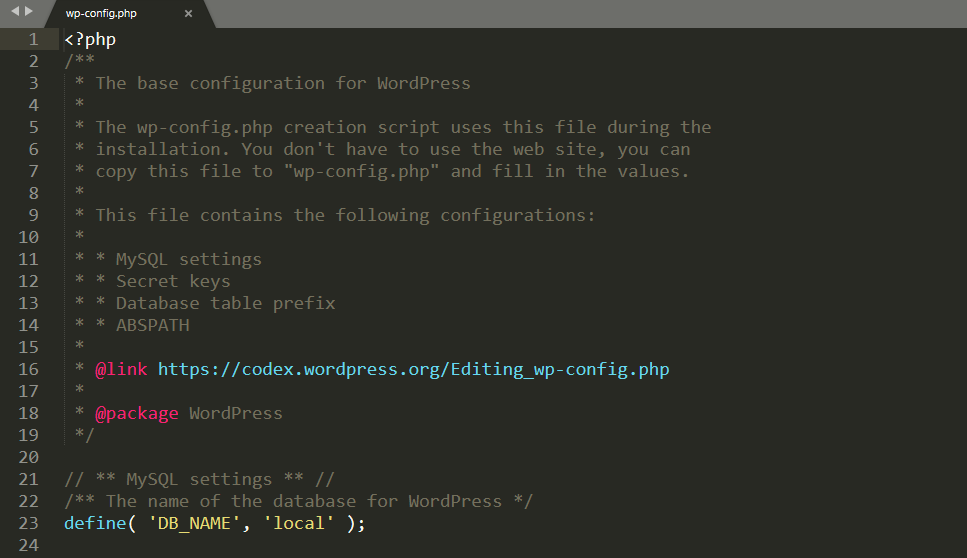 A WordPress wp-config.file in a text editor.