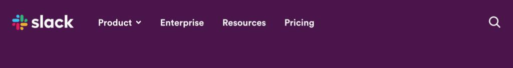 screen shot of Slack header