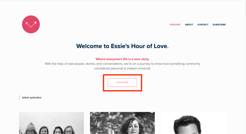 Essie's Hour of Love podcast website example