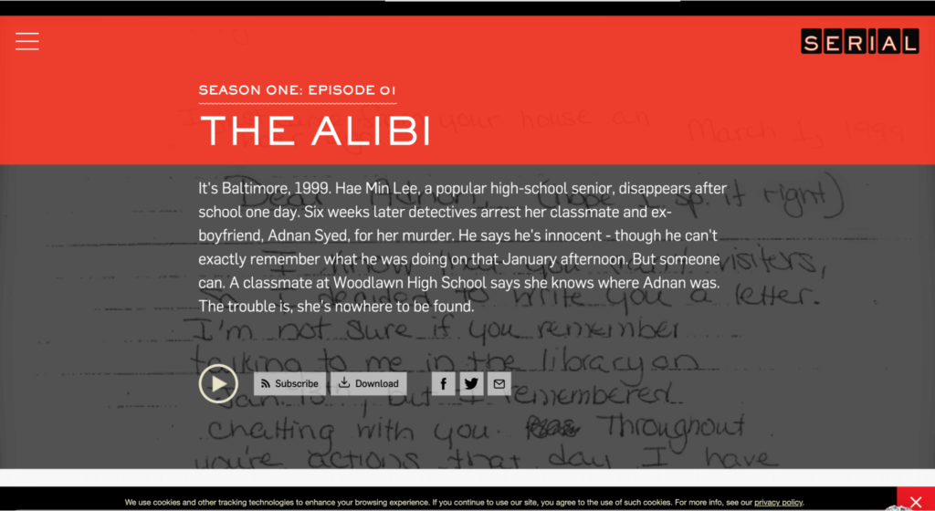 The Serial podcast website example