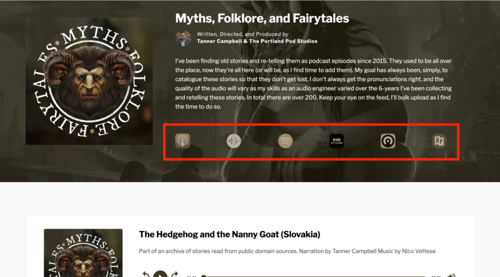 Myths, Folklore and Fairytales podcast website example
