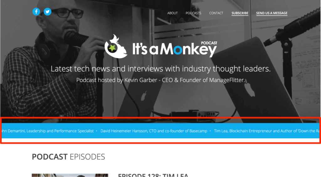 It's a Monkey podcast website example