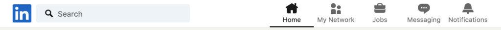 screen shot of LinkedIn header