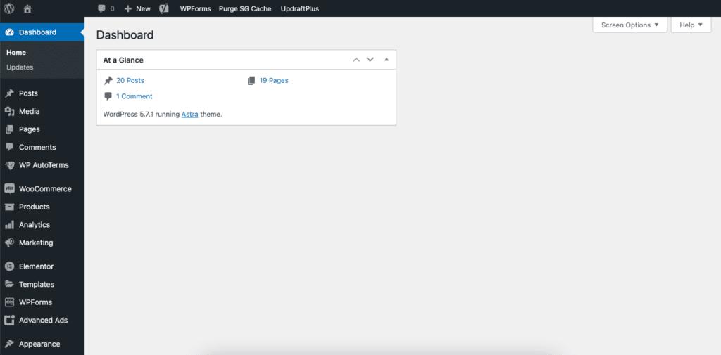 The WordPress.org dashboard