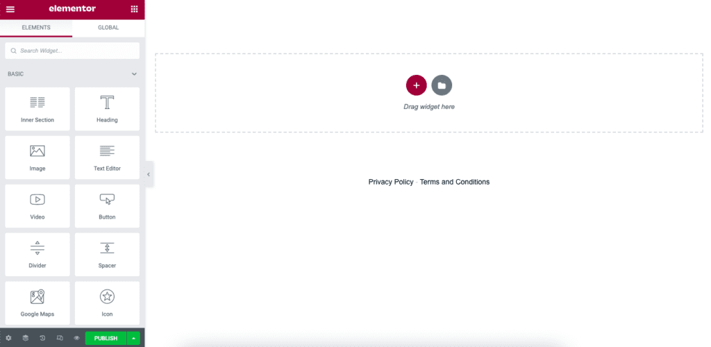 A blank page is created with the Elementor plugin for WordPress
