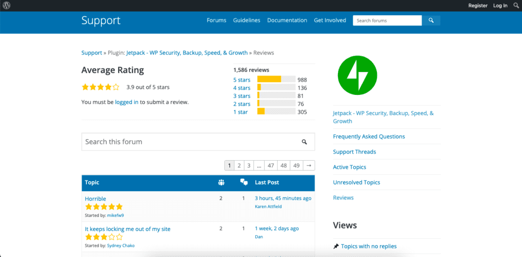 The reviews and support page for WordPress's Jetpack plugin