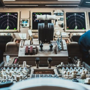 The cockpit control panels in an airplane.