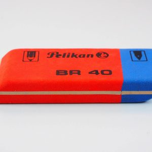 A blue and red eraser.