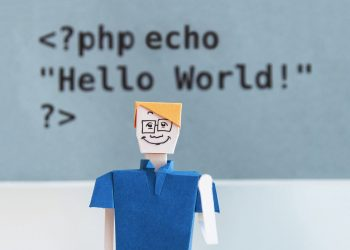 A php call behind an origami man.